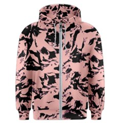 Old Rose Black Abstract Military Camouflage Men s Zipper Hoodie