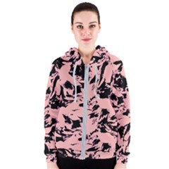 Old Rose Black Abstract Military Camouflage Women s Zipper Hoodie
