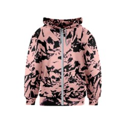 Old Rose Black Abstract Military Camouflage Kids  Zipper Hoodie