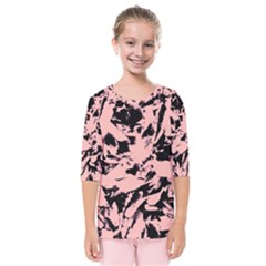 Old Rose Black Abstract Military Camouflage Kids  Quarter Sleeve Raglan Tee