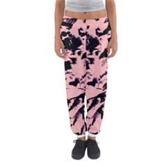 Old Rose Black Abstract Military Camouflage Women s Jogger Sweatpants
