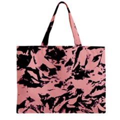 Old Rose Black Abstract Military Camouflage Zipper Mini Tote Bag