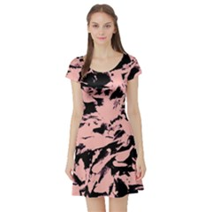 Old Rose Black Abstract Military Camouflage Short Sleeve Skater Dress
