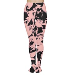 Old Rose Black Abstract Military Camouflage Women s Tights