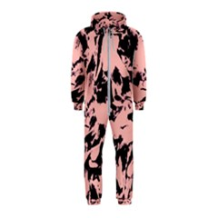 Old Rose Black Abstract Military Camouflage Hooded Jumpsuit (kids)