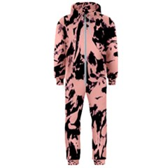 Old Rose Black Abstract Military Camouflage Hooded Jumpsuit (men)