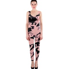 Old Rose Black Abstract Military Camouflage Onepiece Catsuit