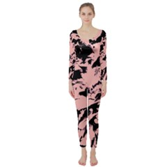 Old Rose Black Abstract Military Camouflage Long Sleeve Catsuit