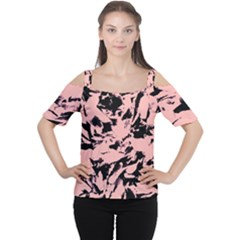 Old Rose Black Abstract Military Camouflage Cutout Shoulder Tee