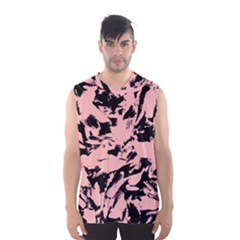 Old Rose Black Abstract Military Camouflage Men s Basketball Tank Top