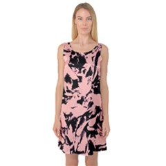 Old Rose Black Abstract Military Camouflage Sleeveless Satin Nightdress