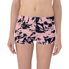 Old Rose Black Abstract Military Camouflage Boyleg Bikini Bottoms
