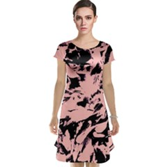 Old Rose Black Abstract Military Camouflage Cap Sleeve Nightdress