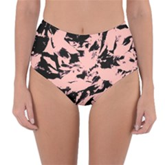 Old Rose Black Abstract Military Camouflage Reversible High Waist Bikini Bottoms