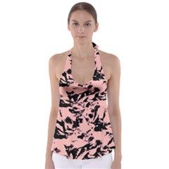 Old Rose Black Abstract Military Camouflage Babydoll Tankini Top
