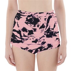 Old Rose Black Abstract Military Camouflage High Waisted Bikini Bottoms