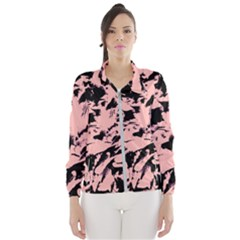 Old Rose Black Abstract Military Camouflage Wind Breaker (women)