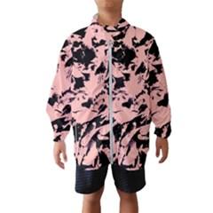 Old Rose Black Abstract Military Camouflage Wind Breaker (kids)