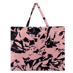 Old Rose Black Abstract Military Camouflage Zipper Large Tote Bag