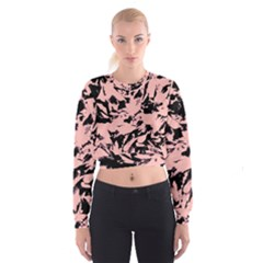 Old Rose Black Abstract Military Camouflage Cropped Sweatshirt