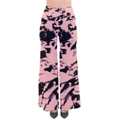 Old Rose Black Abstract Military Camouflage Pants