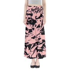 Old Rose Black Abstract Military Camouflage Full Length Maxi Skirt