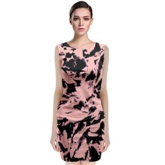 Old Rose Black Abstract Military Camouflage Classic Sleeveless Midi Dress