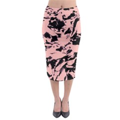 Old Rose Black Abstract Military Camouflage Midi Pencil Skirt