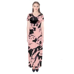 Old Rose Black Abstract Military Camouflage Short Sleeve Maxi Dress