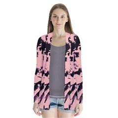 Old Rose Black Abstract Military Camouflage Drape Collar Cardigan