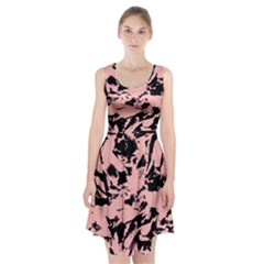 Old Rose Black Abstract Military Camouflage Racerback Midi Dress