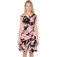 Old Rose Black Abstract Military Camouflage Capsleeve Midi Dress