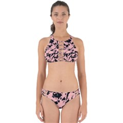 Old Rose Black Abstract Military Camouflage Perfectly Cut Out Bikini Set