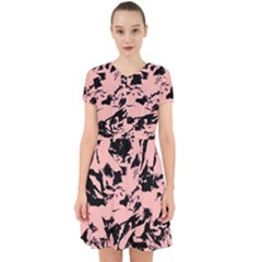 Old Rose Black Abstract Military Camouflage Adorable In Chiffon Dress