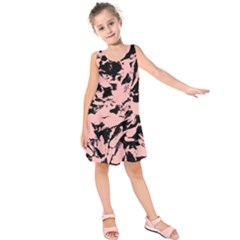 Old Rose Black Abstract Military Camouflage Kids  Sleeveless Dress
