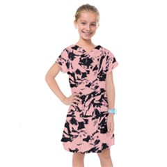 Old Rose Black Abstract Military Camouflage Kids  Drop Waist Dress