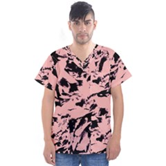 Old Rose Black Abstract Military Camouflage Men s V Neck Scrub Top