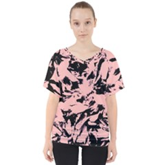 Old Rose Black Abstract Military Camouflage V Neck Dolman Drape Top