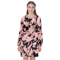 Old Rose Black Abstract Military Camouflage Long Sleeve Chiffon Shift Dress