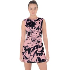 Old Rose Black Abstract Military Camouflage Lace Up Front Bodycon Dress