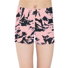 Old Rose Black Abstract Military Camouflage Kids Sports Shorts