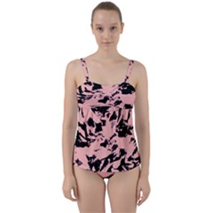 Old Rose Black Abstract Military Camouflage Twist Front Tankini Set