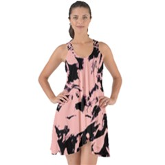 Old Rose Black Abstract Military Camouflage Show Some Back Chiffon Dress