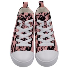 Old Rose Black Abstract Military Camouflage Kid s Mid Top Canvas Sneakers
