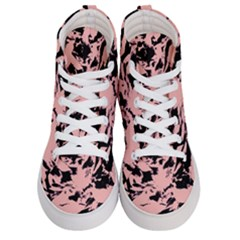 Old Rose Black Abstract Military Camouflage Women s Hi Top Skate Sneakers