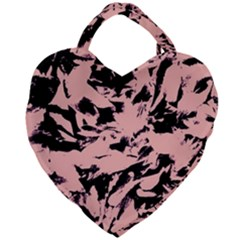 Old Rose Black Abstract Military Camouflage Giant Heart Shaped Tote