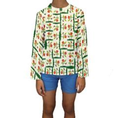 Plants And Flowers Kids  Long Sleeve Swimwear