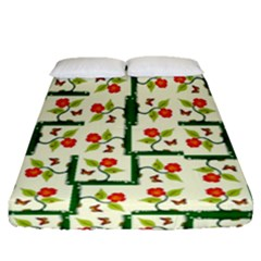 Plants And Flowers Fitted Sheet (queen Size)