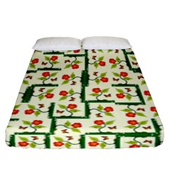 Plants And Flowers Fitted Sheet (california King Size)