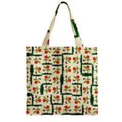 Plants And Flowers Zipper Grocery Tote Bag